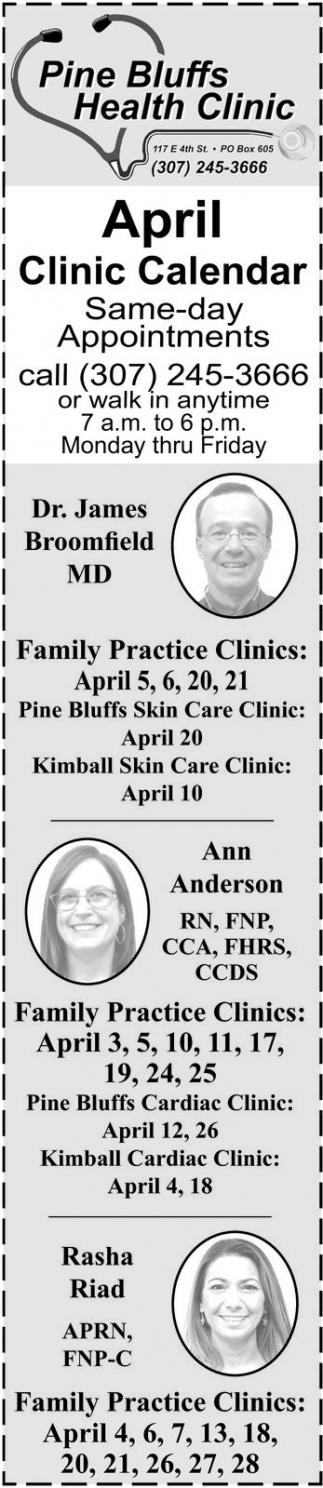 April Clinic Calendar