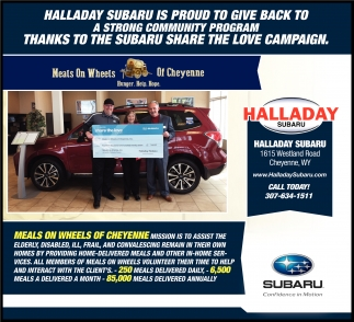 Halladay Subaru is Proud to Give Back to a Strong Community Program