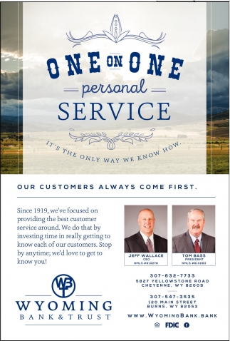 One on One personal service