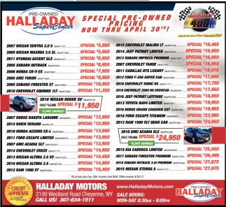 Special Pre Owned Pricing Halladay Motors