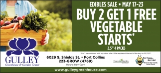 Buy 2 Get 1 Free Vegetable Starts