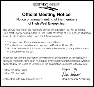 Official Meeting Notice