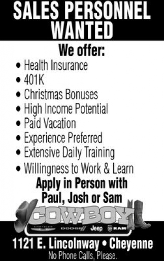 Sales Personnel Wanted