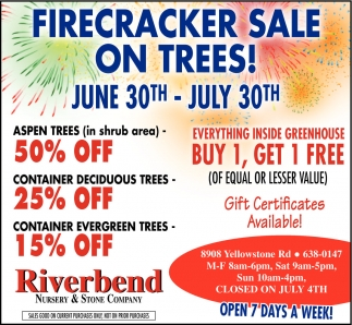 Firecracker Sale on Trees!