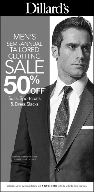 Men's Semi-Annual Tailored Clothing Sale 50% OFF