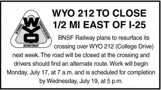 Wyo 212 To Close 1/2 MI East of I-25