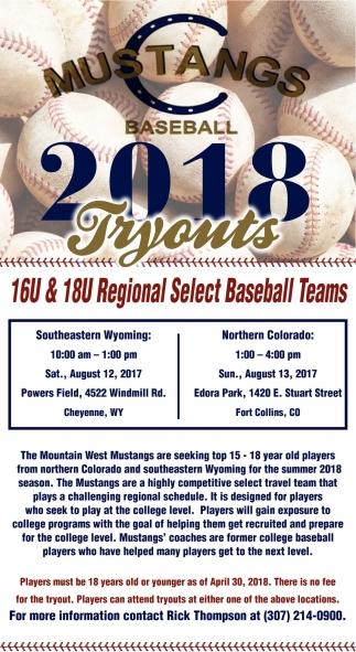16U and 18U Regional Select Baseball Teams