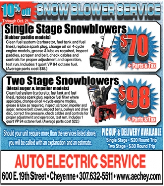 10% Off Snow Blower Service