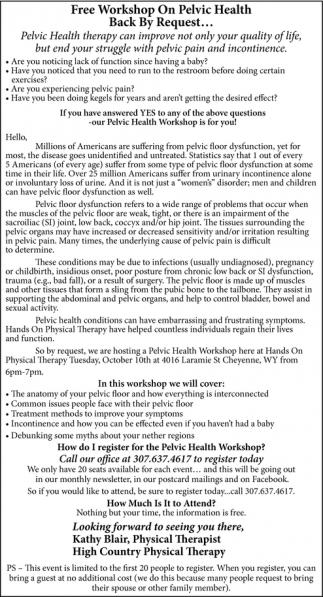 Free Workshop on Pelvic Health