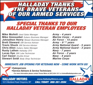 Special thanks to our halladay veteran employees