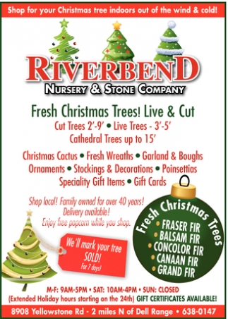 Fresh Christmas Trees! Live & Cut