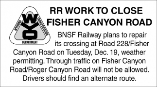 RR Work To Close Fisher Canyon Road