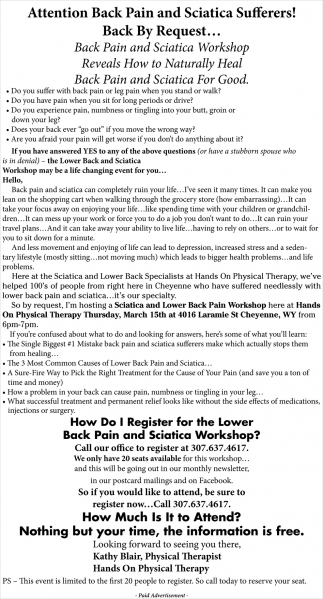 Attention Back Pain and Sciatica Sufferers