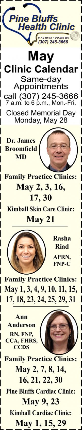 May Clinic Calendar