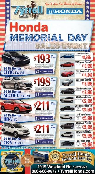 Honda Memorial Day Sale 2017 >> Honda Memorial Day Sales Event Tyrell Cheyenne Wy