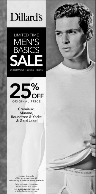 Limited Time Men's Basics Sale