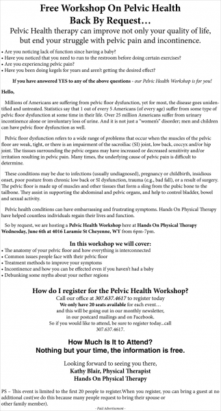 FREE Workshop on Pelvic Health