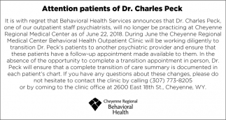Attention Patients of Dr. Charles Peck
