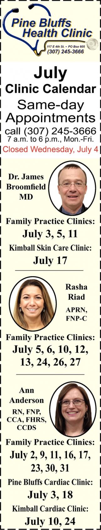 July Clinic Calendar