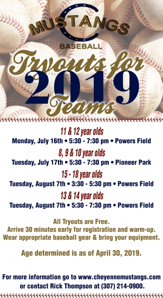 Tryouts for 2019 Teams
