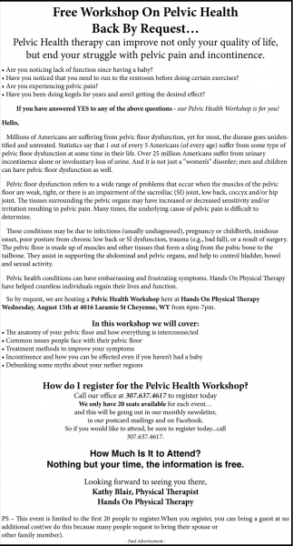 FREE Workshop on Pelvic Health Back by Request