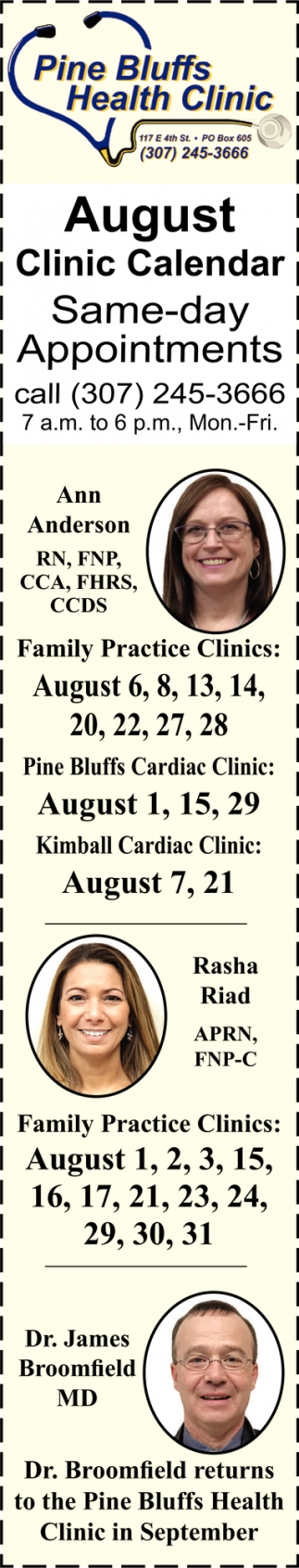 August Clinic Calendar