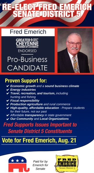 Re-Elect Fred Emerich Senate District 5