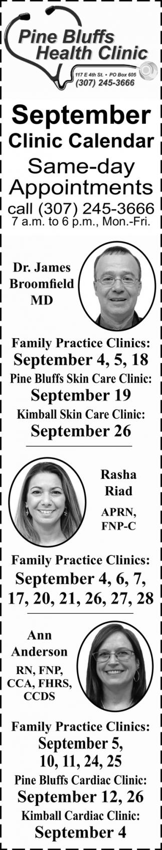 September Clinic Calendar