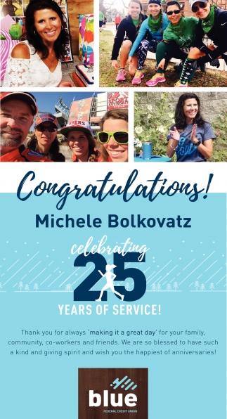 Congratulations Michele Bolkovatz