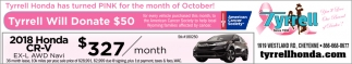 Tyrrell Honda has Turned Pink for the Month of October