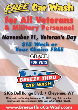 Free Car Wash for All Veterans & Military Personnel