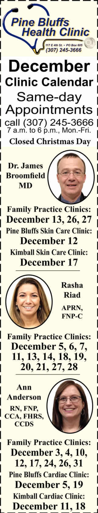 December Clinic Calendar