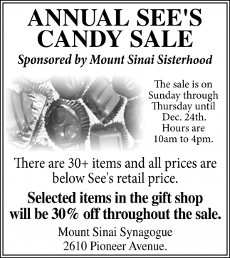 Annual See's Candy Sale