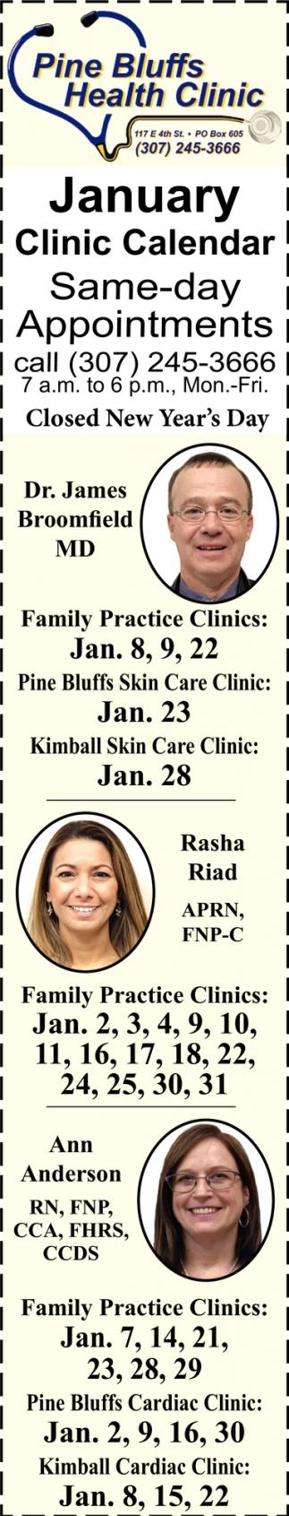 January Clinic Calendar