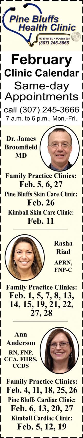 February Clinic Calendar