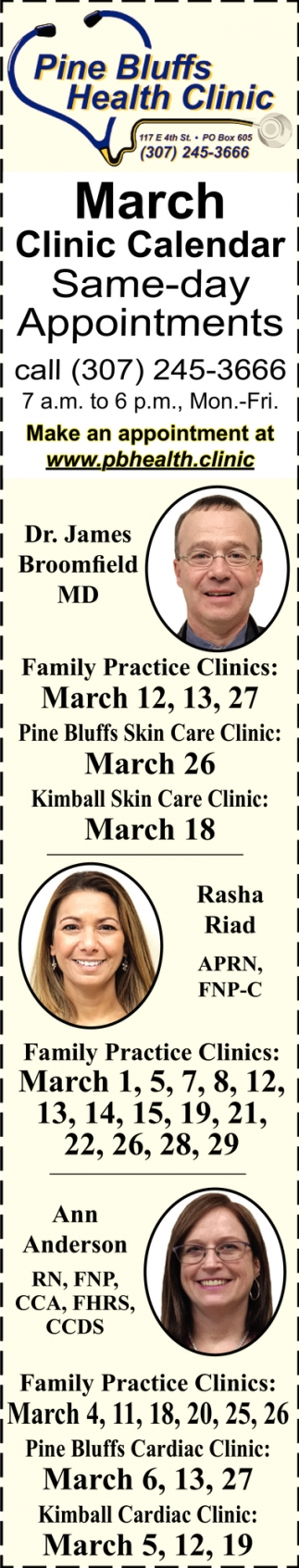 March Clinic Calendar