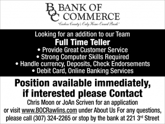 Position available immediately