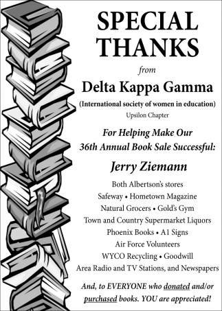 Special Thanks from Delta Kappa Gamma for Helping Make Our 36th Annual Book Sale Successful