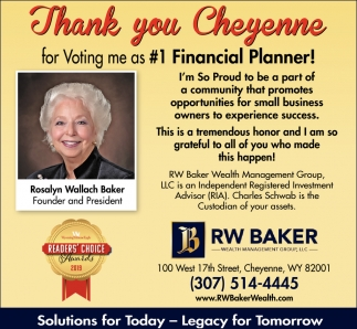 Thank You Cheyenne for Voting Me as #1 Financial Planner!