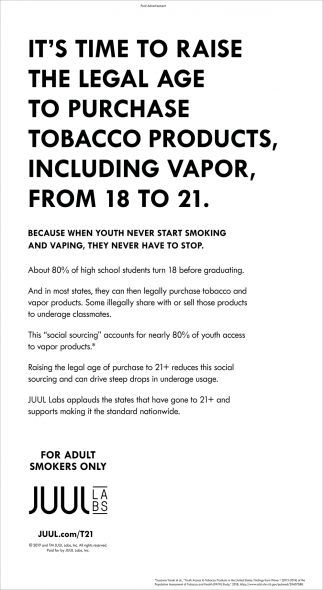 It's Time to Raise the Legal Age to Purchase Tobacco Products