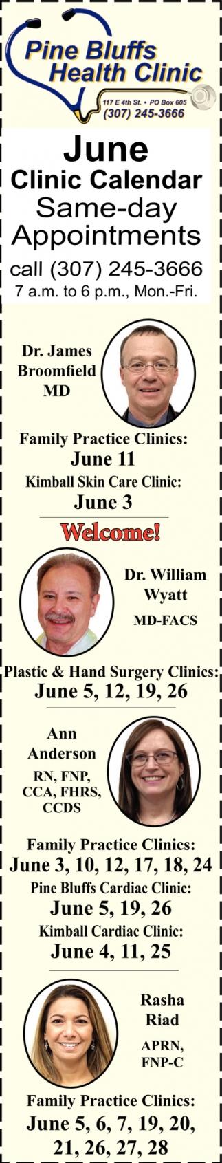 June Clinic Calendar