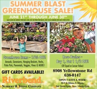 Summer Blast Greenhouse Sale