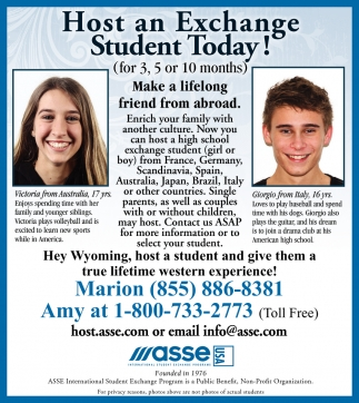 Host an Exchange Student Today