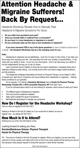 Attention Headache & Migraine Sufferers