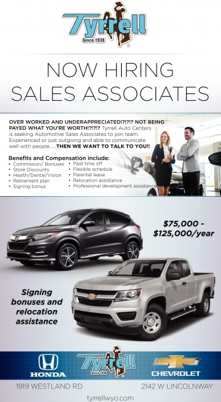 Now Hiring Sales Associates