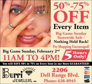 Big Game Sunday Storewide Sale