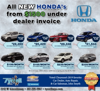 All New Honda's from $1500 Under Dealer Invoice