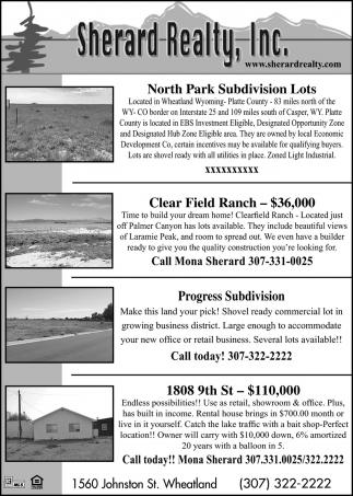 North Park Subdivision Lots