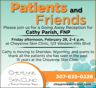 Please Join us for a Going Away Reception for Cathy Parish, FNP