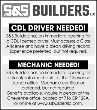 CDL Driver & Mechanic Needed!